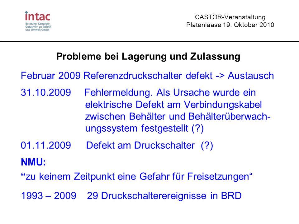 CASTOR-Veranstaltung Platenlaase 19. Oktober 2010 Probleme bei Lagerung und Zulassung Februar 2009 Referenzdruckschalter defekt -> Austausch 31.10.200