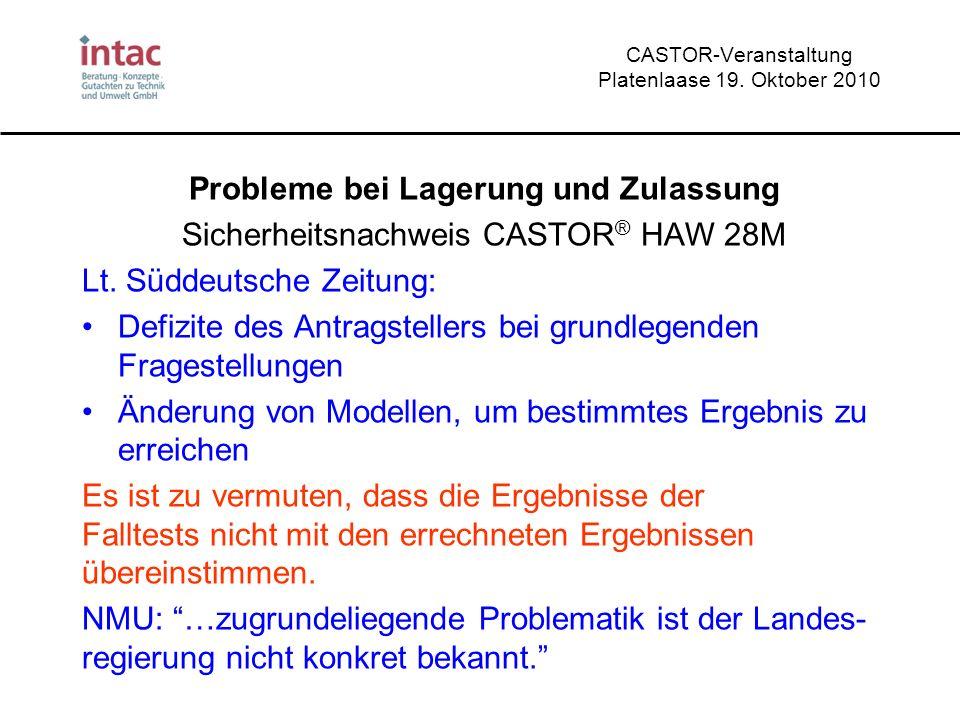 CASTOR-Veranstaltung Platenlaase 19. Oktober 2010 Probleme bei Lagerung und Zulassung Sicherheitsnachweis CASTOR ® HAW 28M Lt. Süddeutsche Zeitung: De