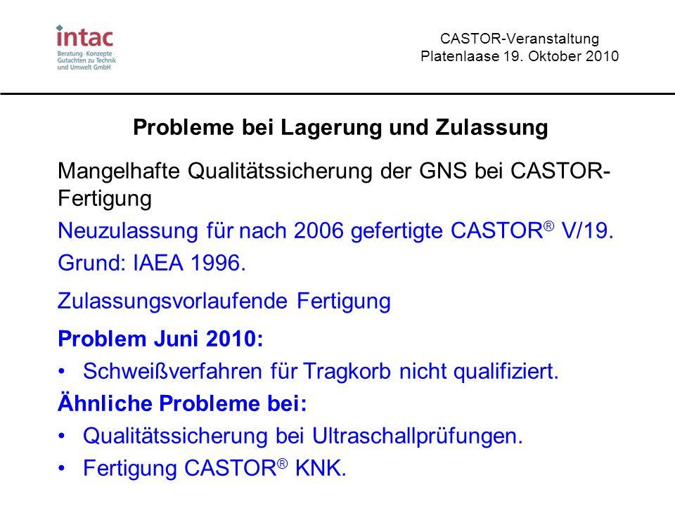CASTOR-Veranstaltung Platenlaase 19. Oktober 2010 Probleme bei Lagerung und Zulassung Mangelhafte Qualitätssicherung der GNS bei CASTOR- Fertigung Neu