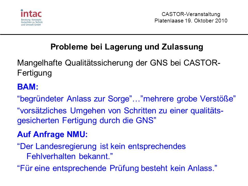 CASTOR-Veranstaltung Platenlaase 19. Oktober 2010 Probleme bei Lagerung und Zulassung Mangelhafte Qualitätssicherung der GNS bei CASTOR- Fertigung BAM