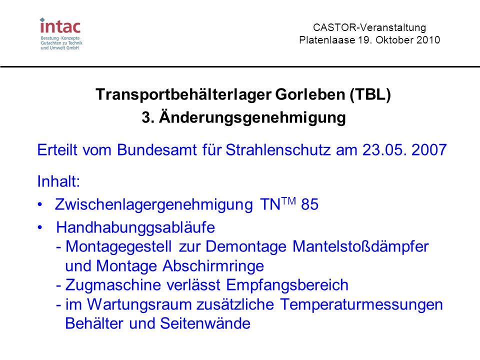 CASTOR-Veranstaltung Platenlaase 19. Oktober 2010 Transportbehälterlager Gorleben (TBL) 3. Änderungsgenehmigung Erteilt vom Bundesamt für Strahlenschu