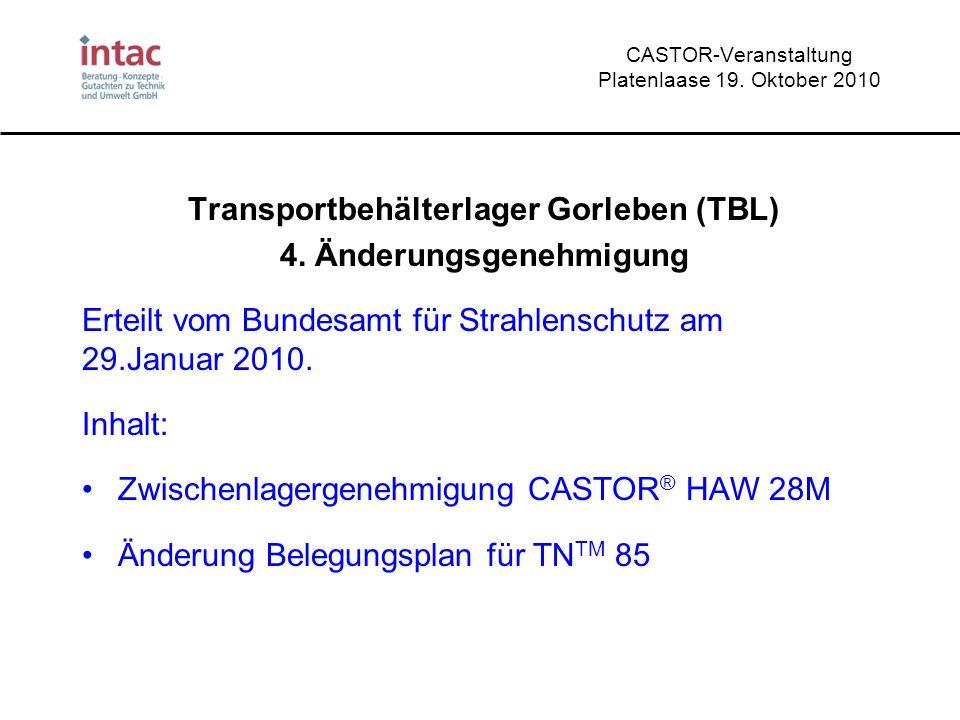 CASTOR-Veranstaltung Platenlaase 19. Oktober 2010 Transportbehälterlager Gorleben (TBL) 4. Änderungsgenehmigung Erteilt vom Bundesamt für Strahlenschu