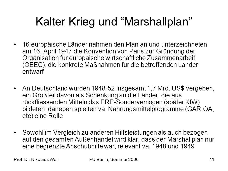 Prof. Dr. Nikolaus WolfFU Berlin, Sommer 200611 Kalter Krieg und Marshallplan 16 europäische Länder nahmen den Plan an und unterzeichneten am 16. Apri
