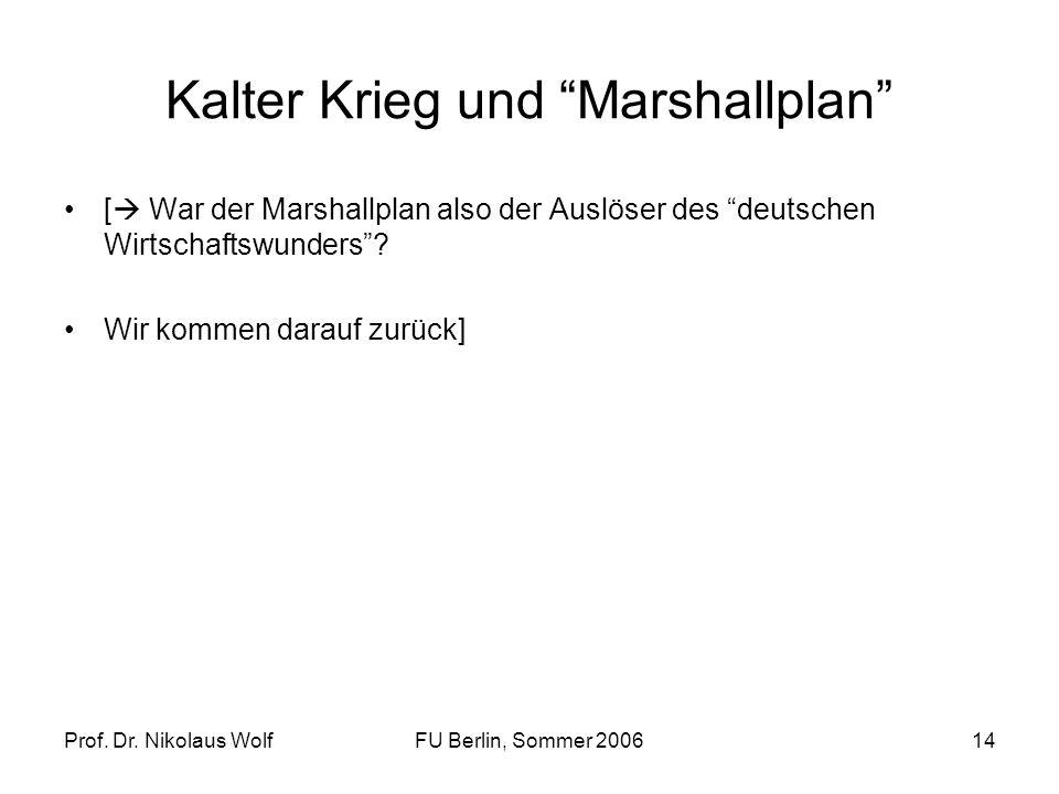 Prof. Dr. Nikolaus WolfFU Berlin, Sommer 200614 Kalter Krieg und Marshallplan [ War der Marshallplan also der Auslöser des deutschen Wirtschaftswunder