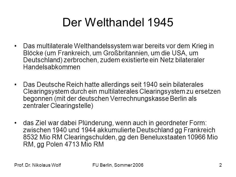 Prof. Dr. Nikolaus WolfFU Berlin, Sommer 20062 Der Welthandel 1945 Das multilaterale Welthandelssystem war bereits vor dem Krieg in Blöcke (um Frankre