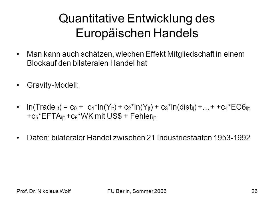 Prof. Dr. Nikolaus WolfFU Berlin, Sommer 200626 Quantitative Entwicklung des Europäischen Handels Man kann auch schätzen, wlechen Effekt Mitgliedschaf