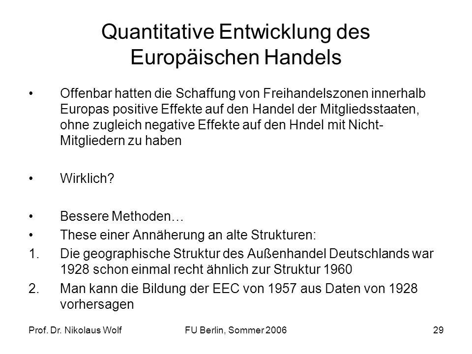 Prof. Dr. Nikolaus WolfFU Berlin, Sommer 200629 Quantitative Entwicklung des Europäischen Handels Offenbar hatten die Schaffung von Freihandelszonen i
