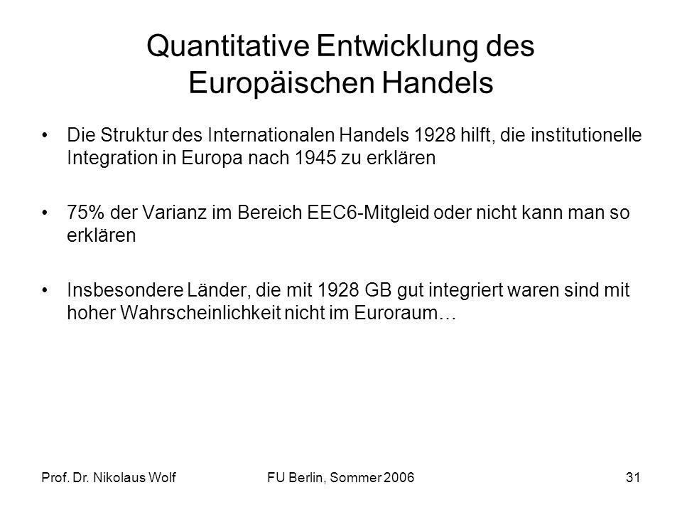 Prof. Dr. Nikolaus WolfFU Berlin, Sommer 200631 Quantitative Entwicklung des Europäischen Handels Die Struktur des Internationalen Handels 1928 hilft,
