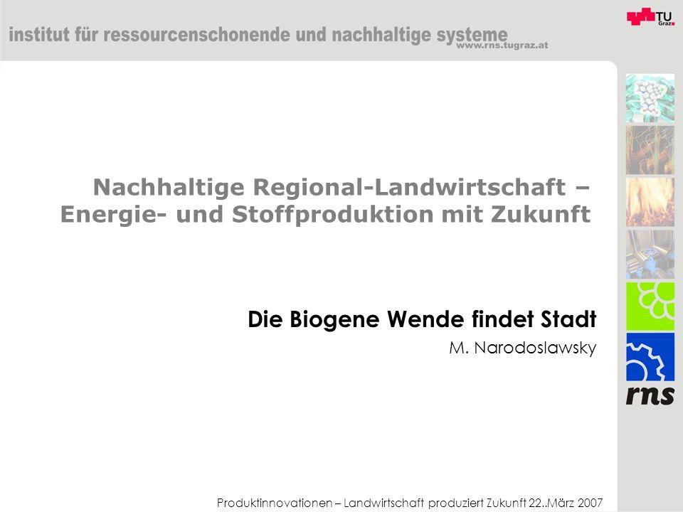 Produktinnovationen – Landwirtschaft produziert Zukunft 22..März 2007 Nachhaltige Regional-Landwirtschaft – Energie- und Stoffproduktion mit Zukunft D