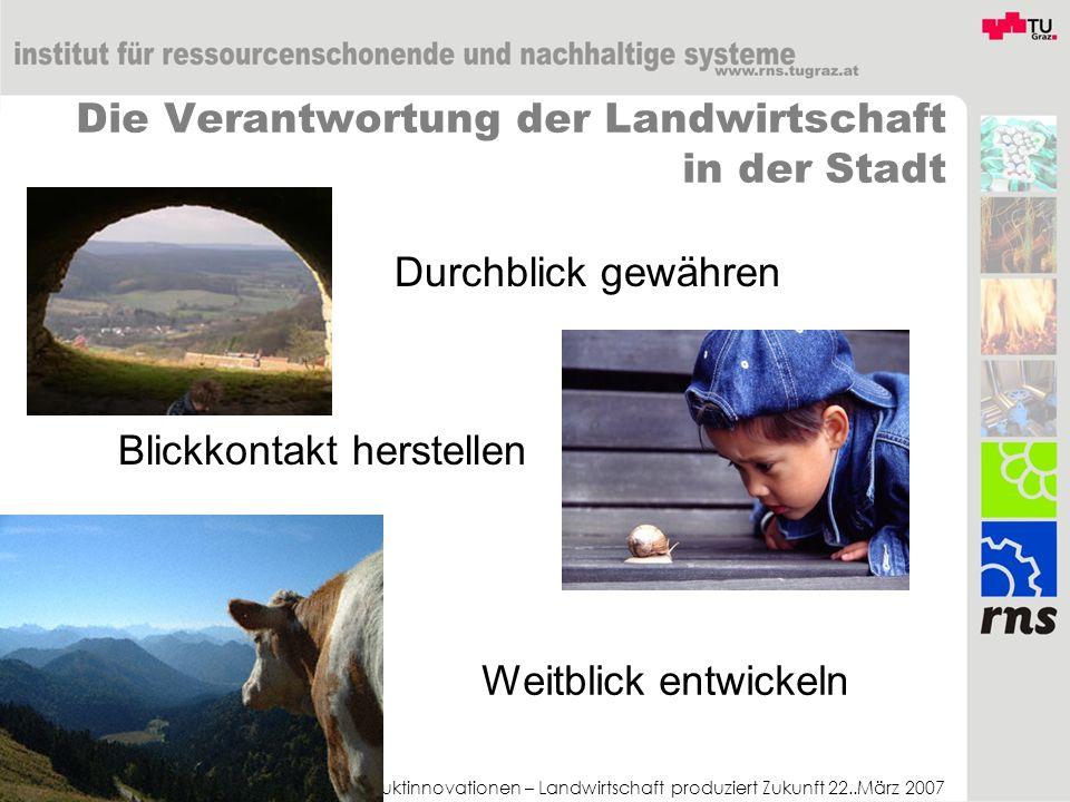 Produktinnovationen – Landwirtschaft produziert Zukunft 22..März 2007 Die Verantwortung der Landwirtschaft in der Stadt Durchblick gewähren Blickkonta