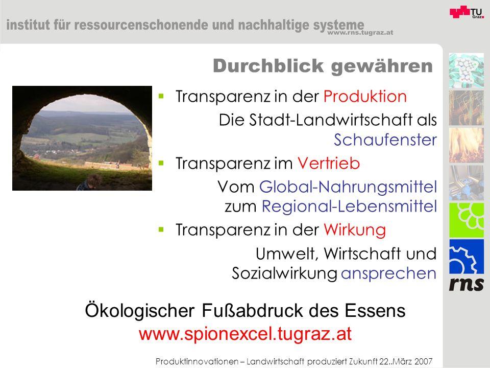 Produktinnovationen – Landwirtschaft produziert Zukunft 22..März 2007 Durchblick gewähren Transparenz in der Produktion Die Stadt-Landwirtschaft als S