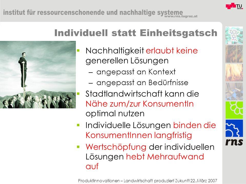 Produktinnovationen – Landwirtschaft produziert Zukunft 22..März 2007 Individuell statt Einheitsgatsch Nachhaltigkeit erlaubt keine generellen Lösunge