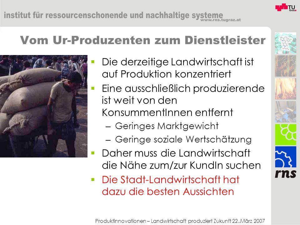 Produktinnovationen – Landwirtschaft produziert Zukunft 22..März 2007 Vom Ur-Produzenten zum Dienstleister Die derzeitige Landwirtschaft ist auf Produ