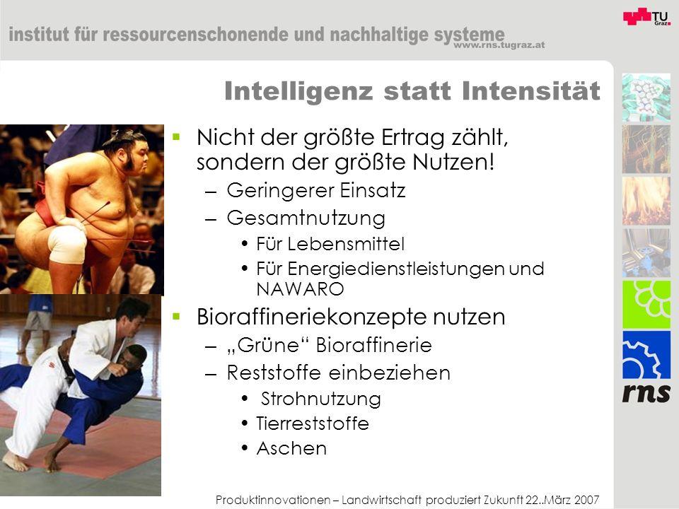 Produktinnovationen – Landwirtschaft produziert Zukunft 22..März 2007 Intelligenz statt Intensität Nicht der größte Ertrag zählt, sondern der größte N