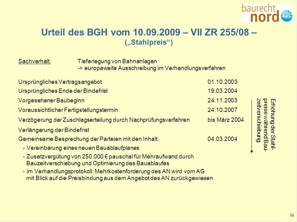 14 Urteil des BGH vom 10.09.2009 – VII ZR 255/08 – (Stahlpreis) Sachverhalt:Tieferlegung von Bahnanlagen -> europaweite Ausschreibung im Verhandlungsv