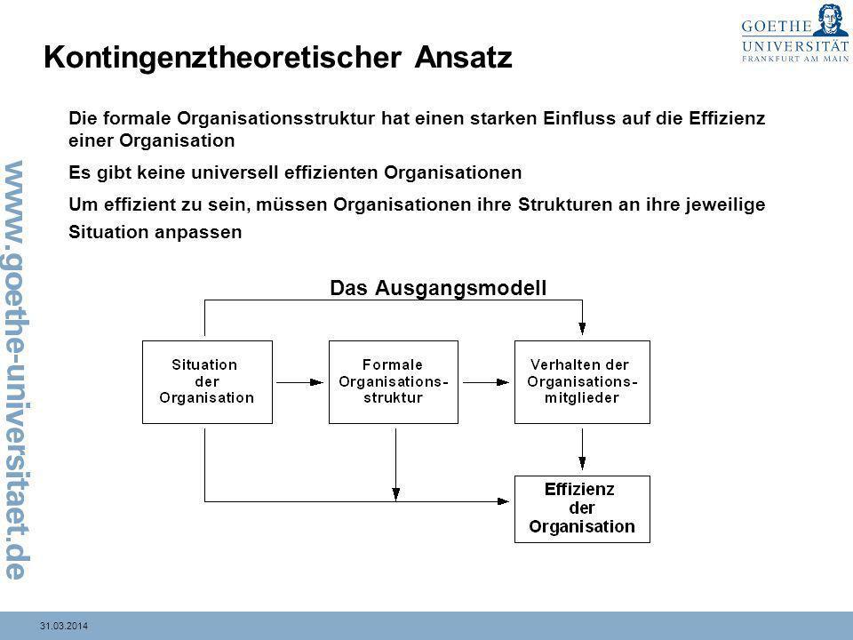31.03.2014 Kontingenztheoretischer Ansatz Die formale Organisationsstruktur hat einen starken Einfluss auf die Effizienz einer Organisation Es gibt ke