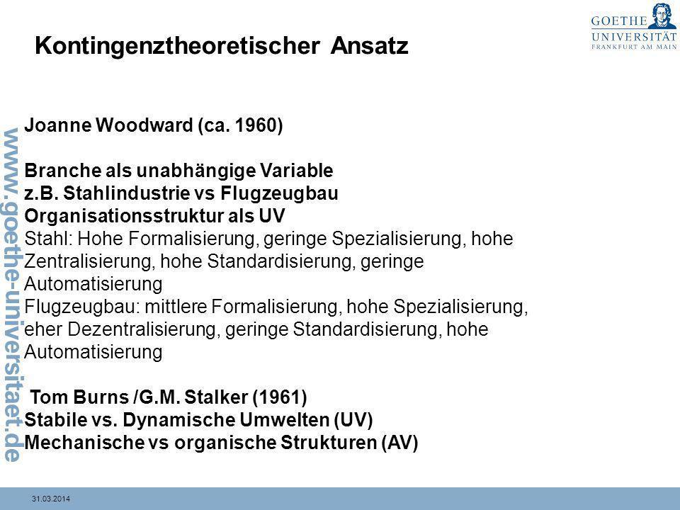 31.03.2014 Kontingenztheoretischer Ansatz Joanne Woodward (ca. 1960) Branche als unabhängige Variable z.B. Stahlindustrie vs Flugzeugbau Organisations