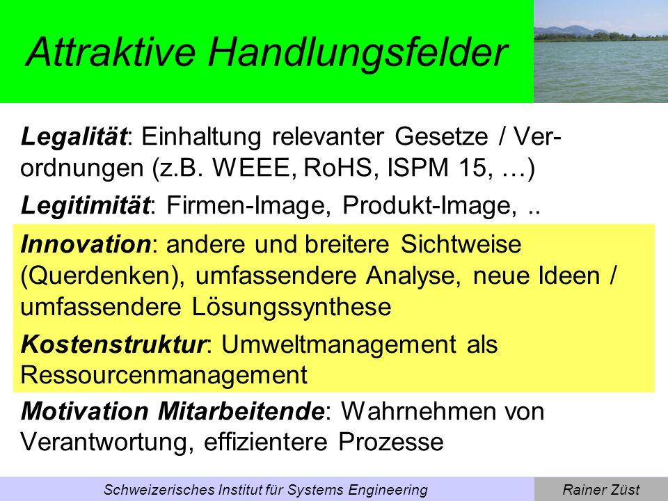 Rainer ZüstSchweizerisches Institut für Systems Engineering Sozialverträgliche und umweltschonende Produkte Verbesserungsmassnahmen, wie sie im Folgenden diskutiert werden, sollen primär zur Sicherung von Wettbewerbsvorteilen beitragen.