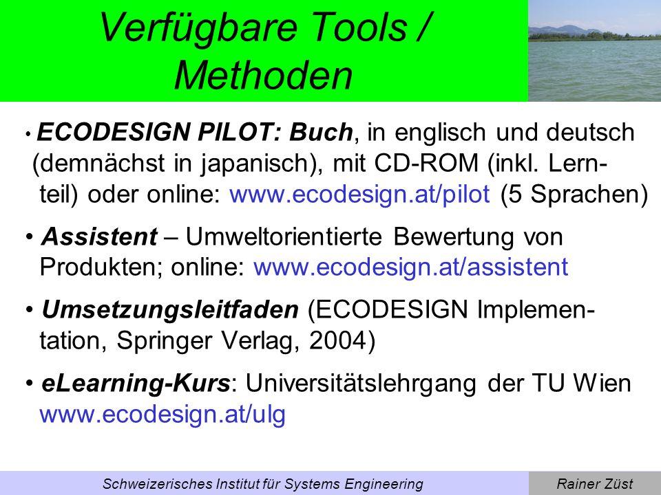 Rainer ZüstSchweizerisches Institut für Systems Engineering Ecodesign - Beispiele -Stellmotoren (Sonnenstoren, Klimaanlagen) -Waschmaschine -Spülkasten