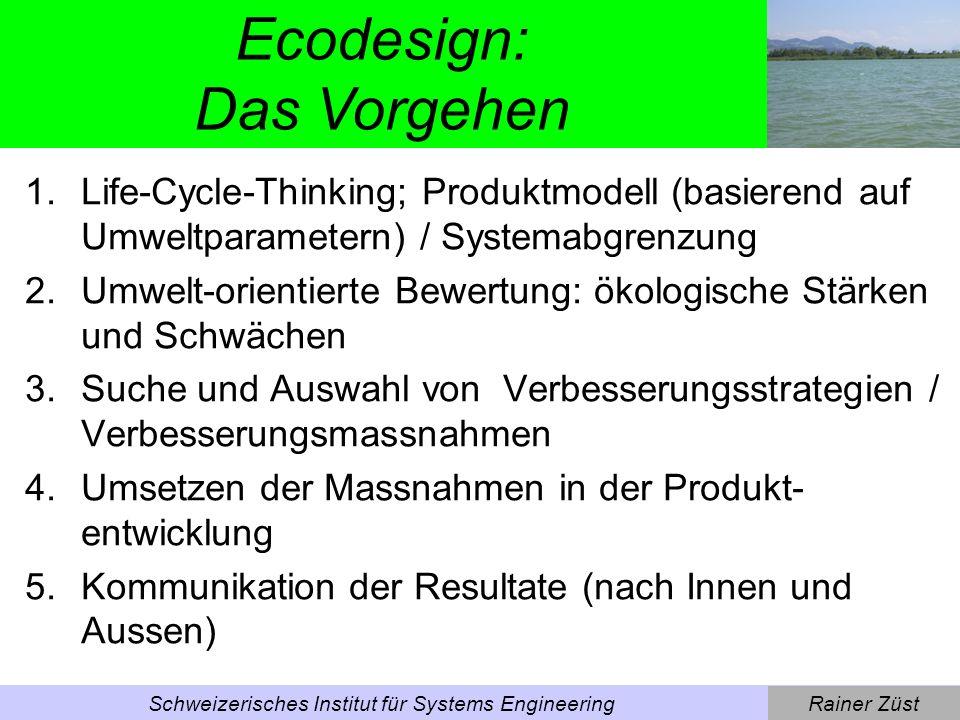 Rainer ZüstSchweizerisches Institut für Systems Engineering 1. Schritt: Life-Cycle-Thinking