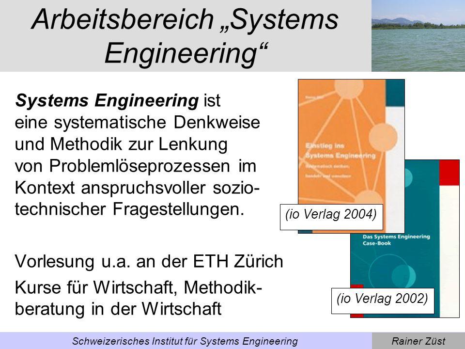 Rainer ZüstSchweizerisches Institut für Systems Engineering Arbeitsbereich Ecodesign ECODESIGN (umwelt- gerechte Produktentwicklung; - Buch mit CD-ROM, Um- setzungsleitfaden, eLearning; - Tools auf www.ecodesign.at Vorlesung ETH Zürich, Kurse für die Wirtschaft, Beratung von Unternehmen (io Verlag 2001) (Kluwer 2002)