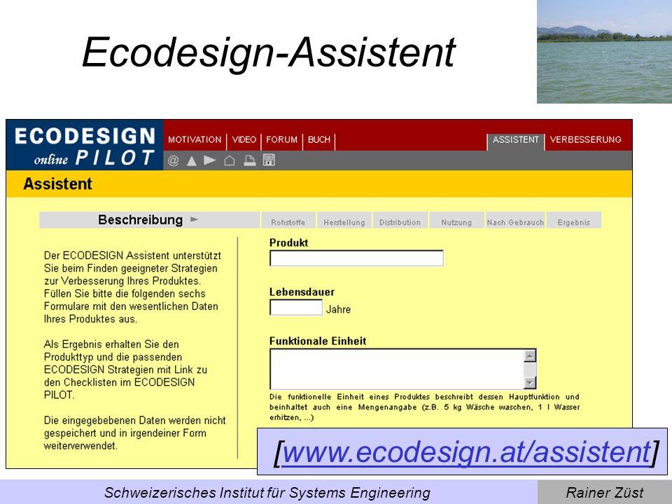 Rainer ZüstSchweizerisches Institut für Systems Engineering Anwendung Assistent: Beispiel Alustuhl (l)