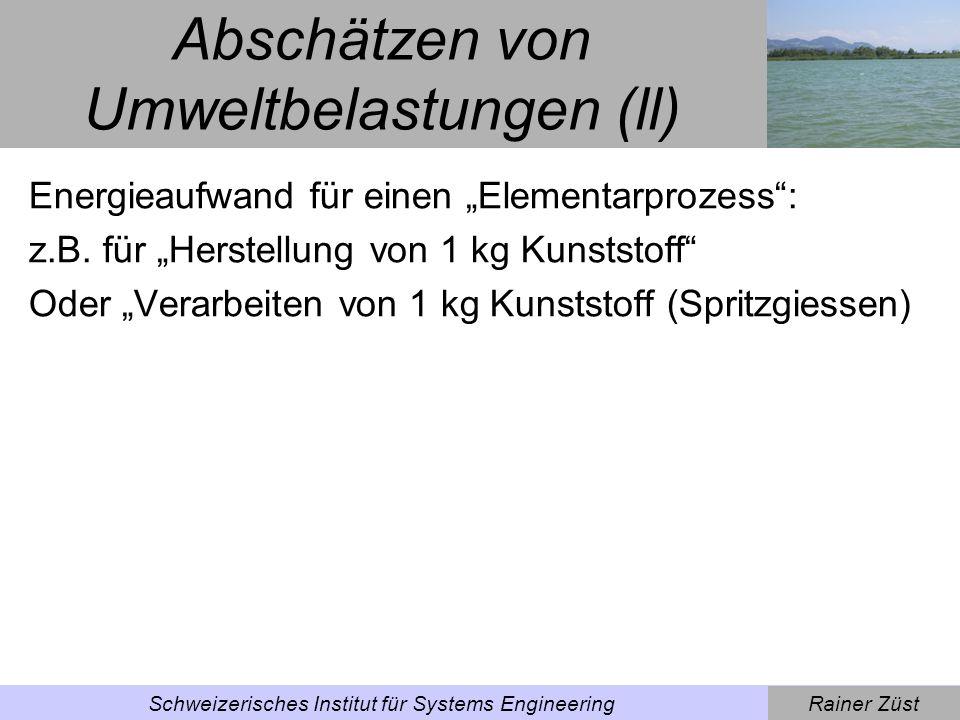 Rainer ZüstSchweizerisches Institut für Systems Engineering Energy Values