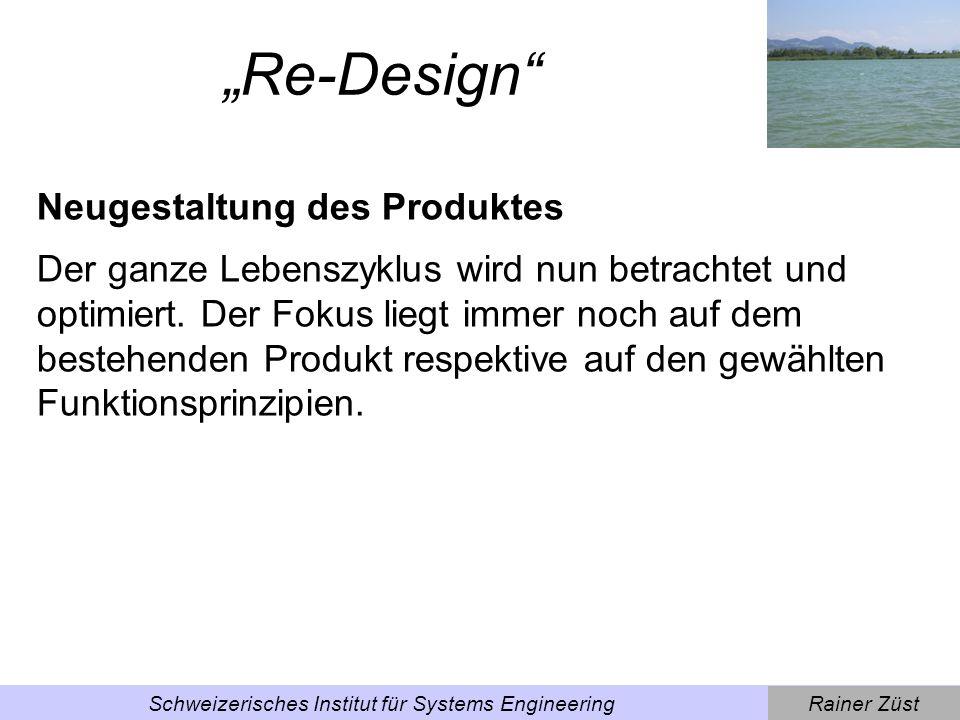 Rainer ZüstSchweizerisches Institut für Systems Engineering Beispiel Re-Design Beispiel Waschmaschine, die nun über verbesserte Waschprogramme, optimierte Unterhalts- und Service- Möglichkeiten sowie Sensoren zur Steuerung des Waschprogramms verfügt.