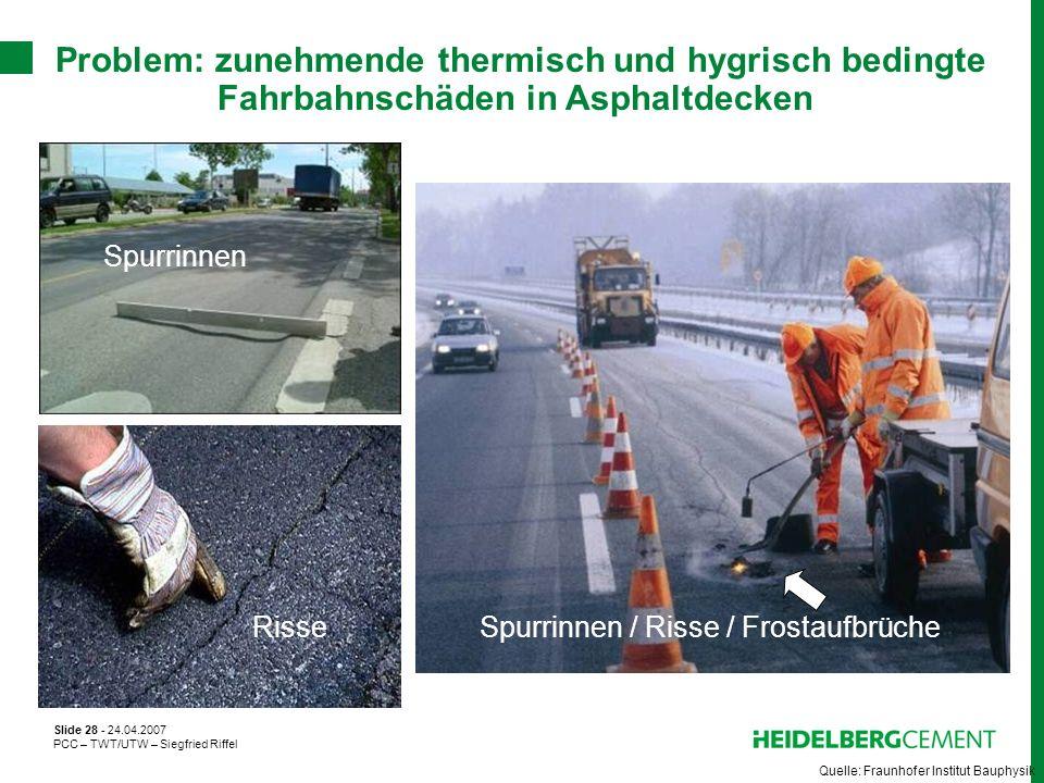 Slide 28 - 24.04.2007 PCC – TWT/UTW – Siegfried Riffel Problem: zunehmende thermisch und hygrisch bedingte Fahrbahnschäden in Asphaltdecken Quelle: Fr