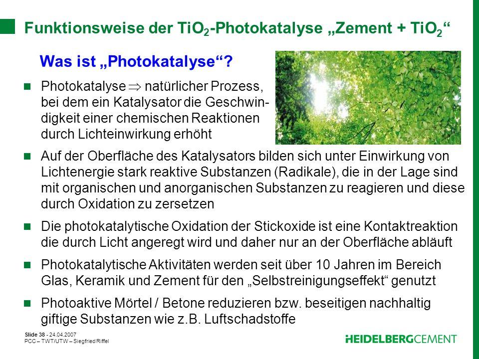 Slide 38 - 24.04.2007 PCC – TWT/UTW – Siegfried Riffel Funktionsweise der TiO 2 -Photokatalyse Zement + TiO 2 Was ist Photokatalyse? Photokatalyse nat