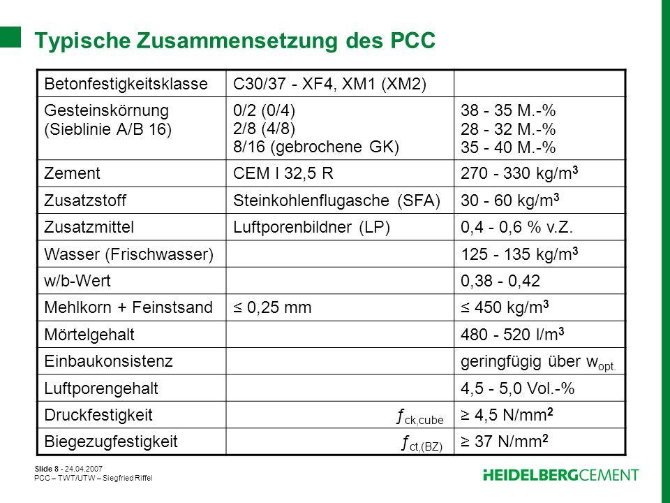 Slide 8 - 24.04.2007 PCC – TWT/UTW – Siegfried Riffel Typische Zusammensetzung des PCC BetonfestigkeitsklasseC30/37 - XF4, XM1 (XM2) Gesteinskörnung (