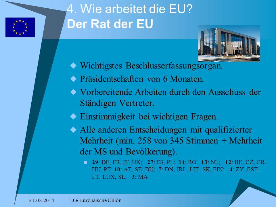 31.03.2014Die Europäische Union 4. Wie arbeitet die EU? Der Rat der EU Wichtigstes Beschlusserfassungsorgan. Präsidentschaften von 6 Monaten. Vorberei