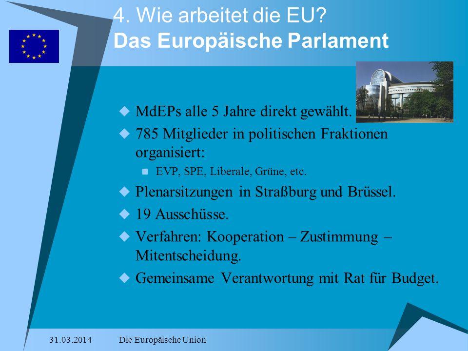 31.03.2014Die Europäische Union 4. Wie arbeitet die EU? Das Europäische Parlament MdEPs alle 5 Jahre direkt gewählt. 785 Mitglieder in politischen Fra
