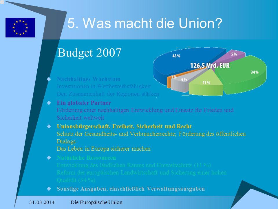 31.03.2014Die Europäische Union 5. Was macht die Union? Nachhaltiges Wachstum Investitionen in Wettbewerbsfähigkeit Den Zusammenhalt der Regionen stär