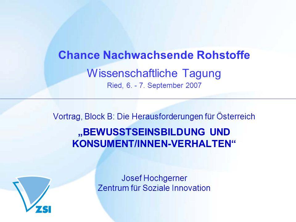 Chance Nachwachsende Rohstoffe Wissenschaftliche Tagung Ried, 6. - 7. September 2007 Vortrag, Block B: Die Herausforderungen für Österreich BEWUSSTSEI