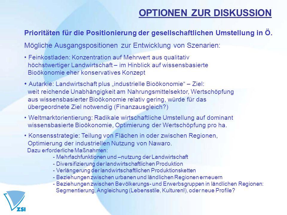 OPTIONEN ZUR DISKUSSION Prioritäten für die Positionierung der gesellschaftlichen Umstellung in Ö. Mögliche Ausgangspositionen zur Entwicklung von Sze