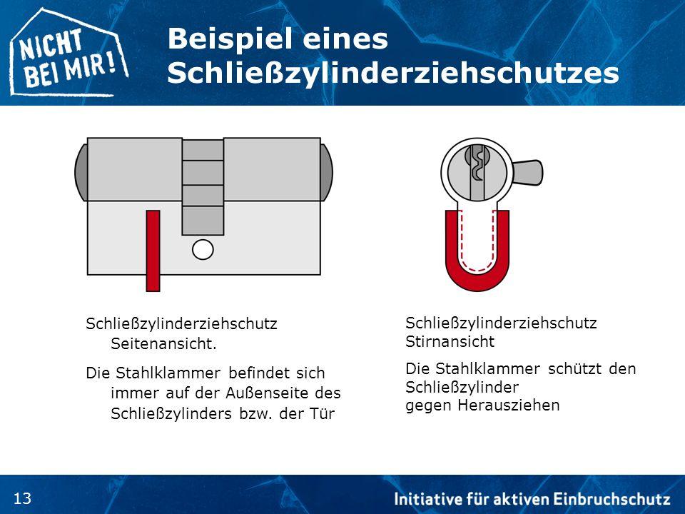 13 Beispiel eines Schließzylinderziehschutzes Schließzylinderziehschutz Seitenansicht. Die Stahlklammer befindet sich immer auf der Außenseite des Sch