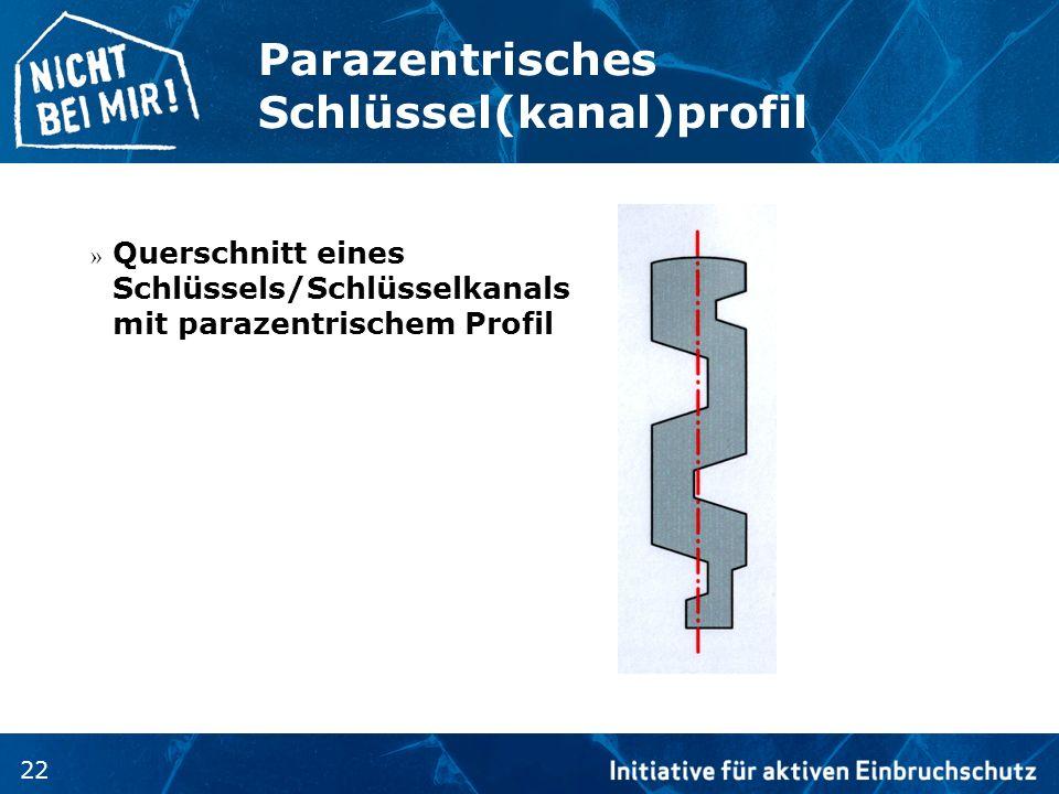 22 Parazentrisches Schlüssel(kanal)profil » Querschnitt eines Schlüssels/Schlüsselkanals mit parazentrischem Profil