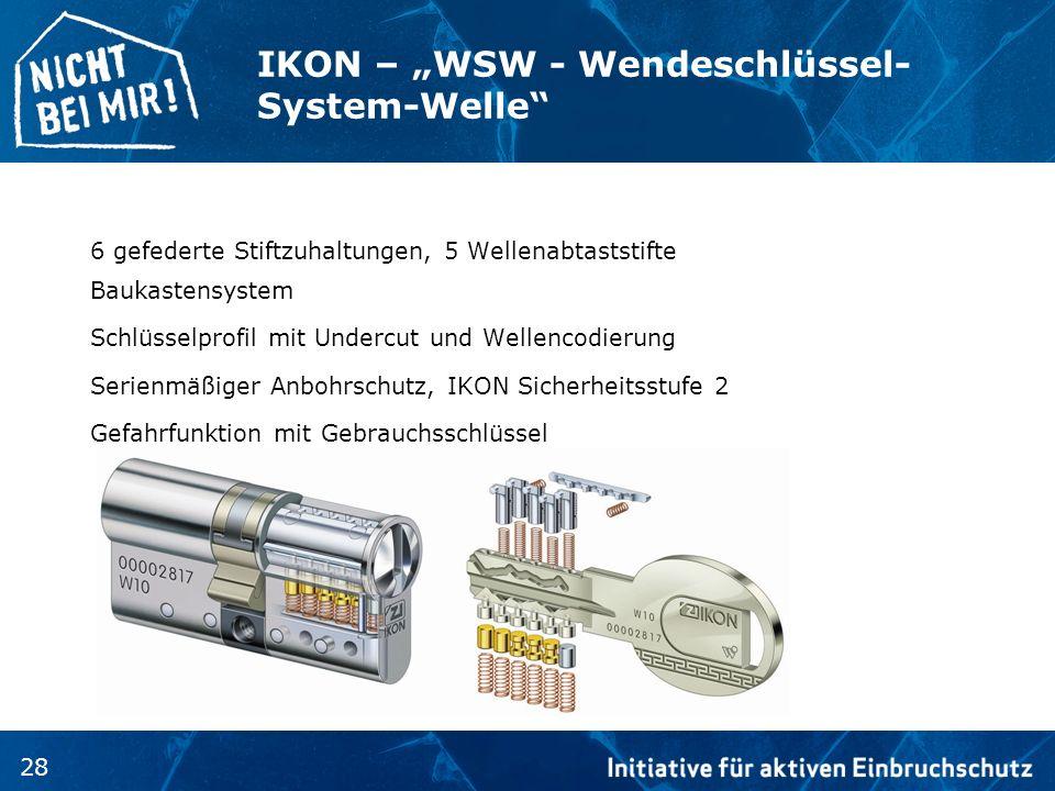 28 IKON – WSW - Wendeschlüssel- System-Welle 6 gefederte Stiftzuhaltungen, 5 Wellenabtaststifte Baukastensystem Schlüsselprofil mit Undercut und Welle