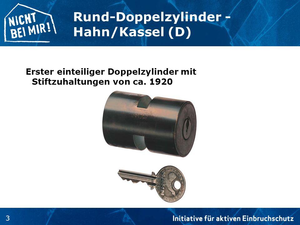 3 Rund-Doppelzylinder - Hahn/Kassel (D) Erster einteiliger Doppelzylinder mit Stiftzuhaltungen von ca. 1920