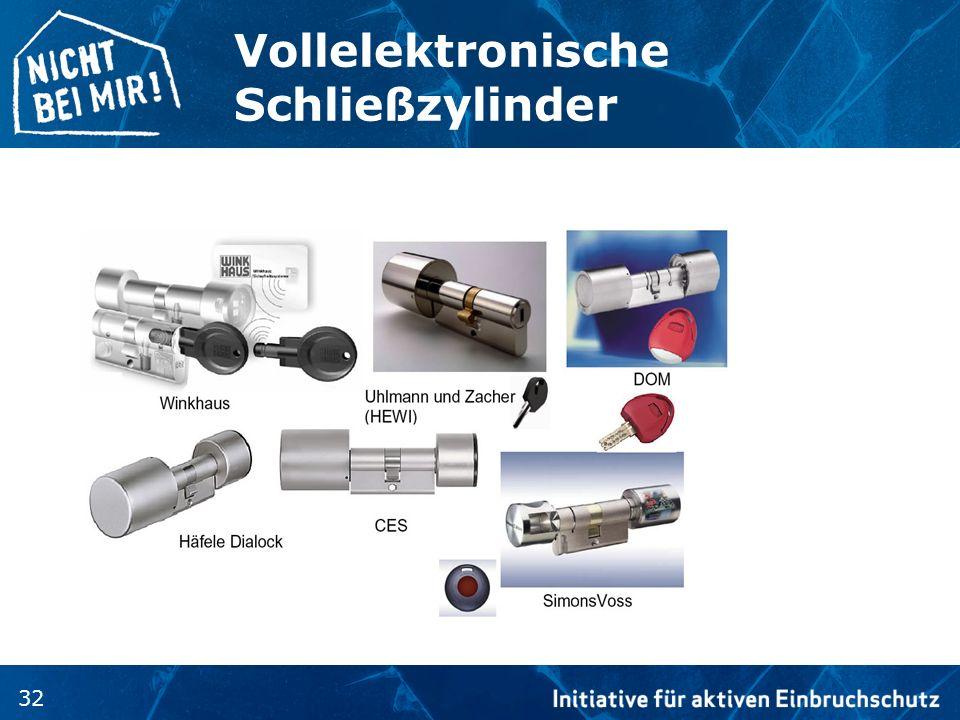 32 Vollelektronische Schließzylinder