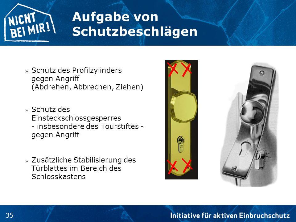 35 Aufgabe von Schutzbeschlägen » Schutz des Profilzylinders gegen Angriff (Abdrehen, Abbrechen, Ziehen) » Schutz des Einsteckschlossgesperres - insbe