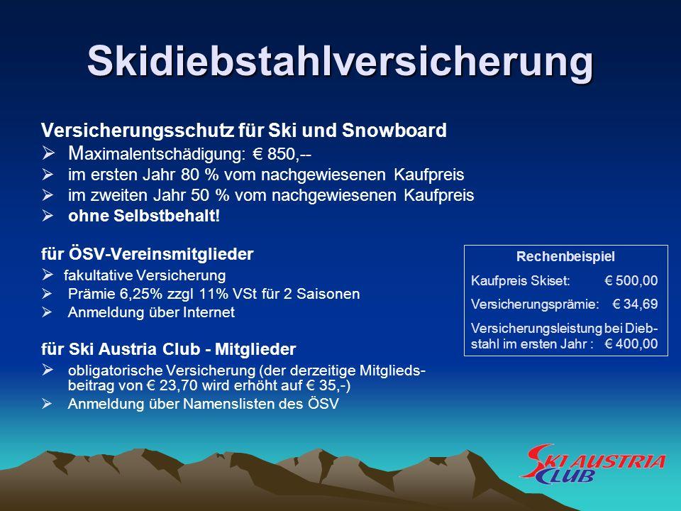 Skidiebstahlversicherung Versicherungsschutz für Ski und Snowboard M aximalentschädigung: 850,-- im ersten Jahr 80 % vom nachgewiesenen Kaufpreis im z