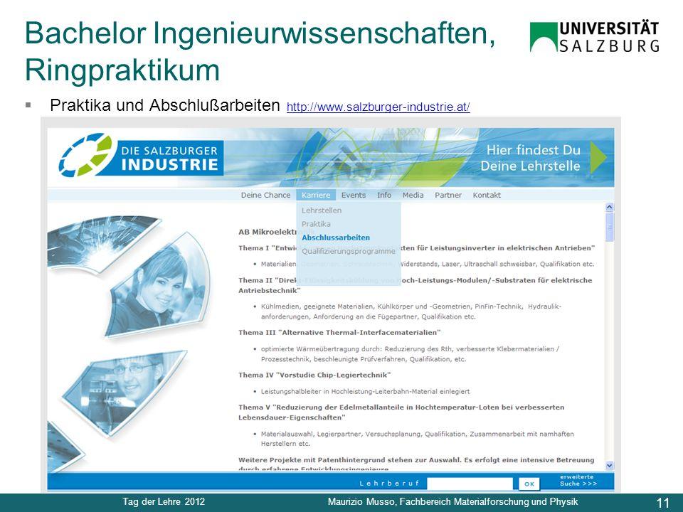 11 Tag der Lehre 2012Maurizio Musso, Fachbereich Materialforschung und Physik Praktika und Abschlußarbeiten http://www.salzburger-industrie.at/ http:/