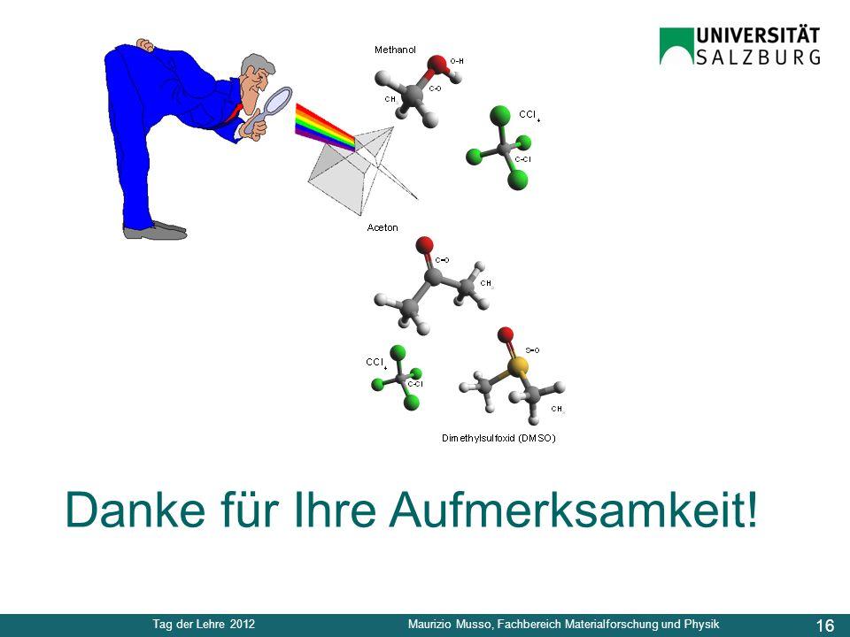 16 Tag der Lehre 2012Maurizio Musso, Fachbereich Materialforschung und Physik Danke für Ihre Aufmerksamkeit!