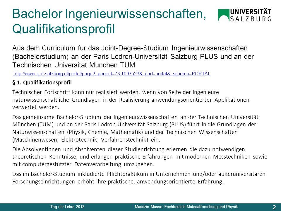 2 Tag der Lehre 2012Maurizio Musso, Fachbereich Materialforschung und Physik Bachelor Ingenieurwissenschaften, Qualifikationsprofil Aus dem Curriculum