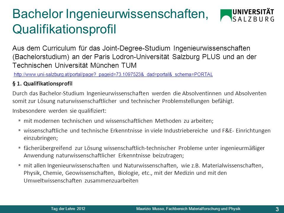3 Tag der Lehre 2012Maurizio Musso, Fachbereich Materialforschung und Physik Aus dem Curriculum für das Joint-Degree-Studium Ingenieurwissenschaften (