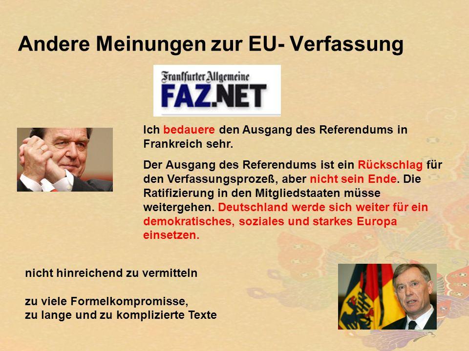Andere Meinungen zur EU- Verfassung Ich bedauere den Ausgang des Referendums in Frankreich sehr.