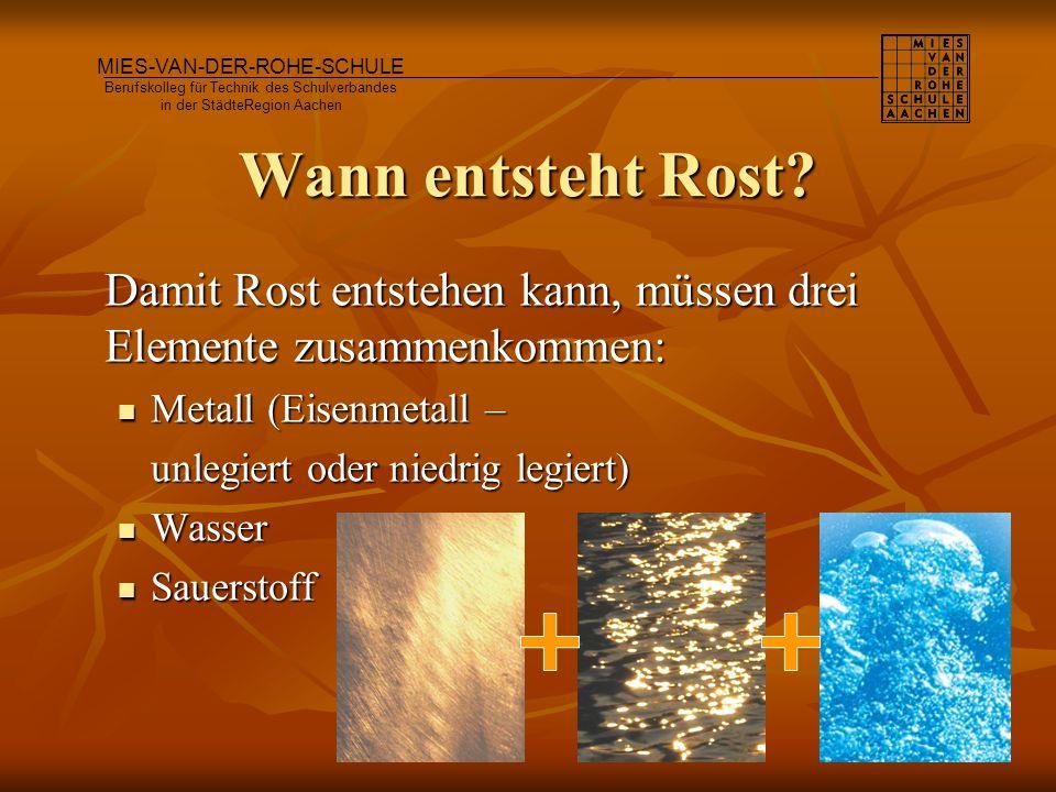 Wann entsteht Rost? Damit Rost entstehen kann, müssen drei Elemente zusammenkommen: Metall (Eisenmetall – Metall (Eisenmetall – unlegiert oder niedrig
