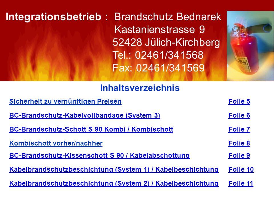 Inhaltsverzeichnis Sicherheit zu vernünftigen Preisen Folie 5Folie 5 BC-Brandschutz-Kabelvollbandage (System 3)BC-Brandschutz-Kabelvollbandage (System